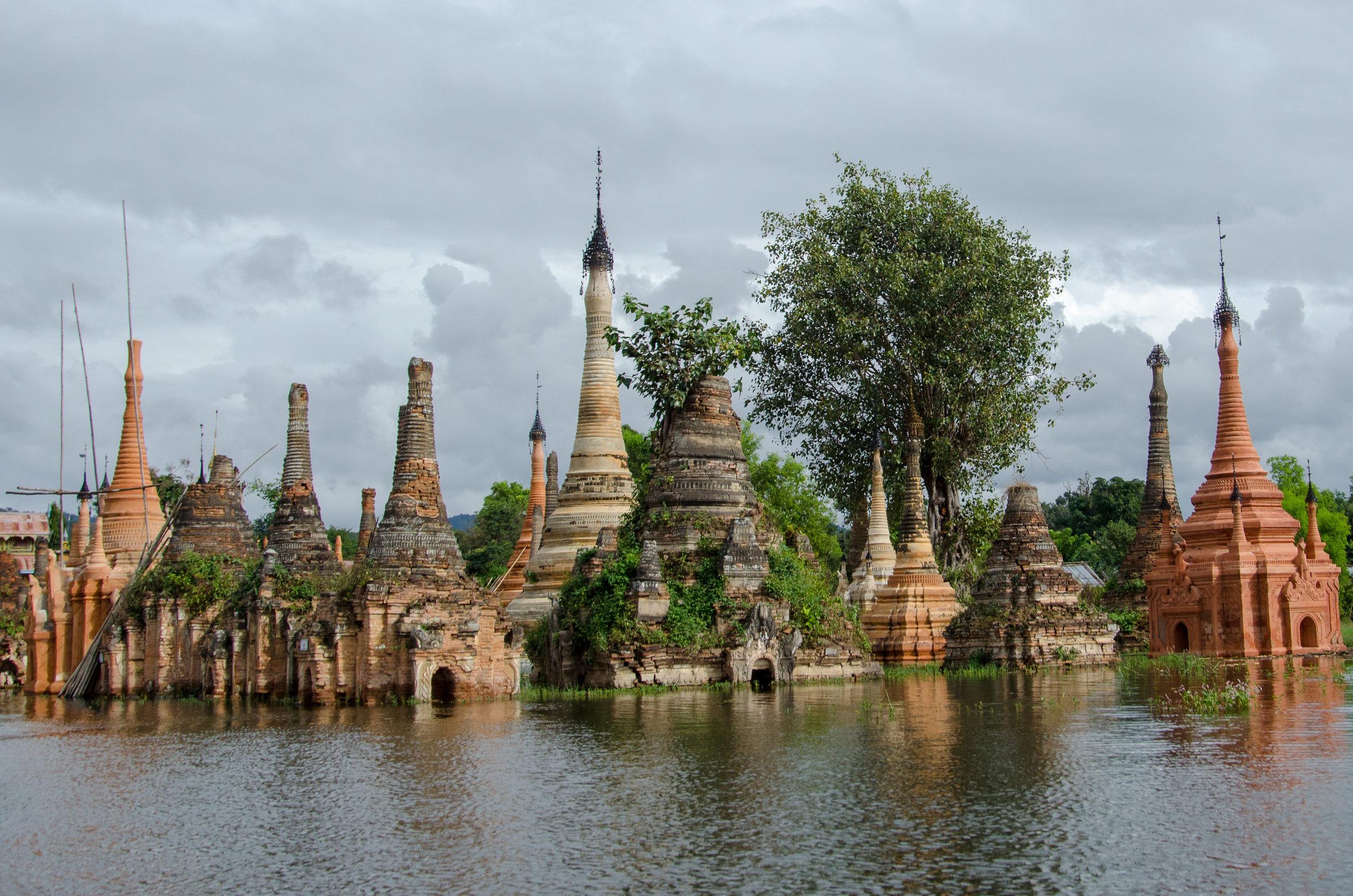 Stupas, Samkar, Inle Lake, Myanmar