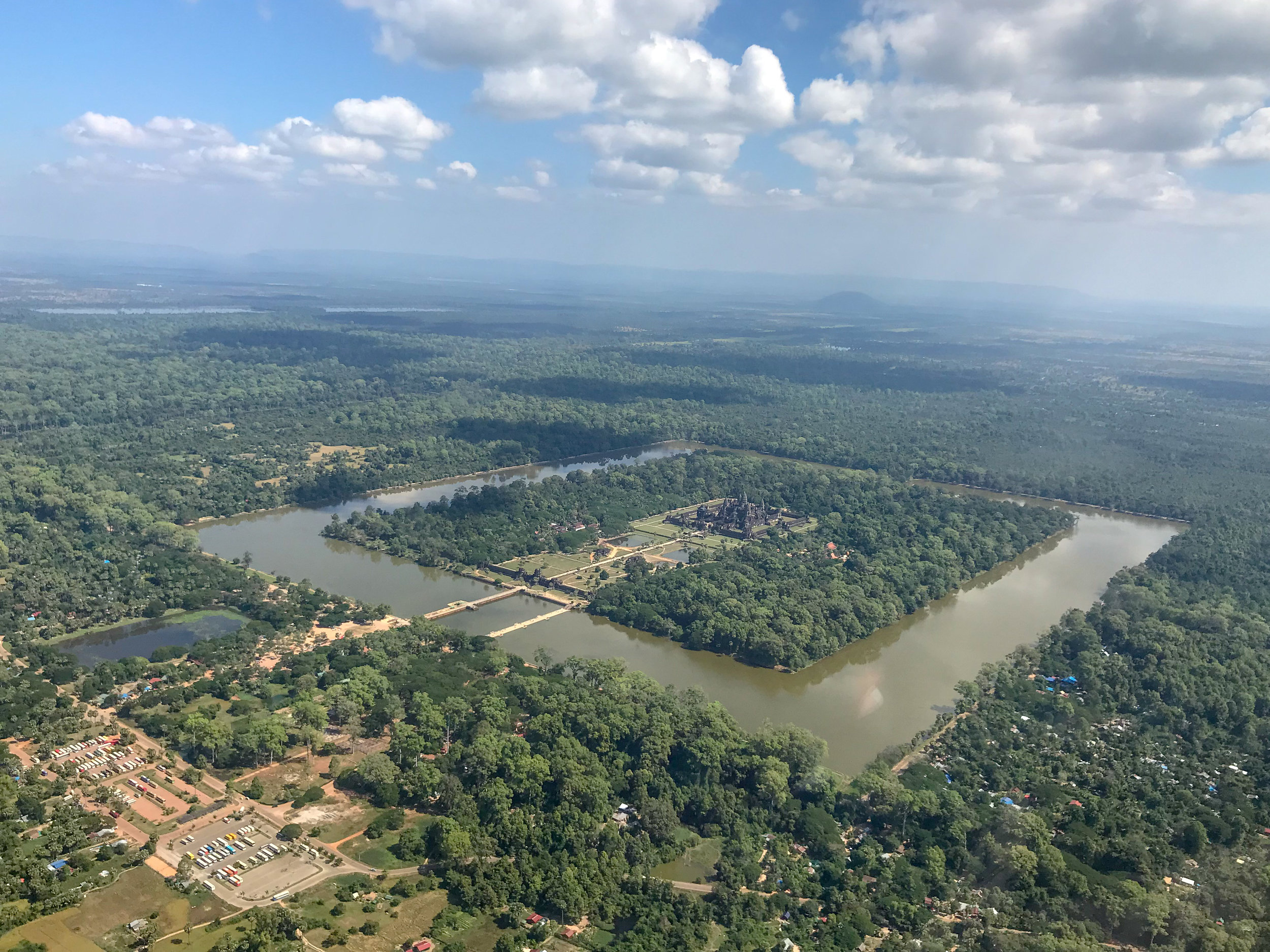Angkor Wat from helicopter, Siem Reap, Cambodia