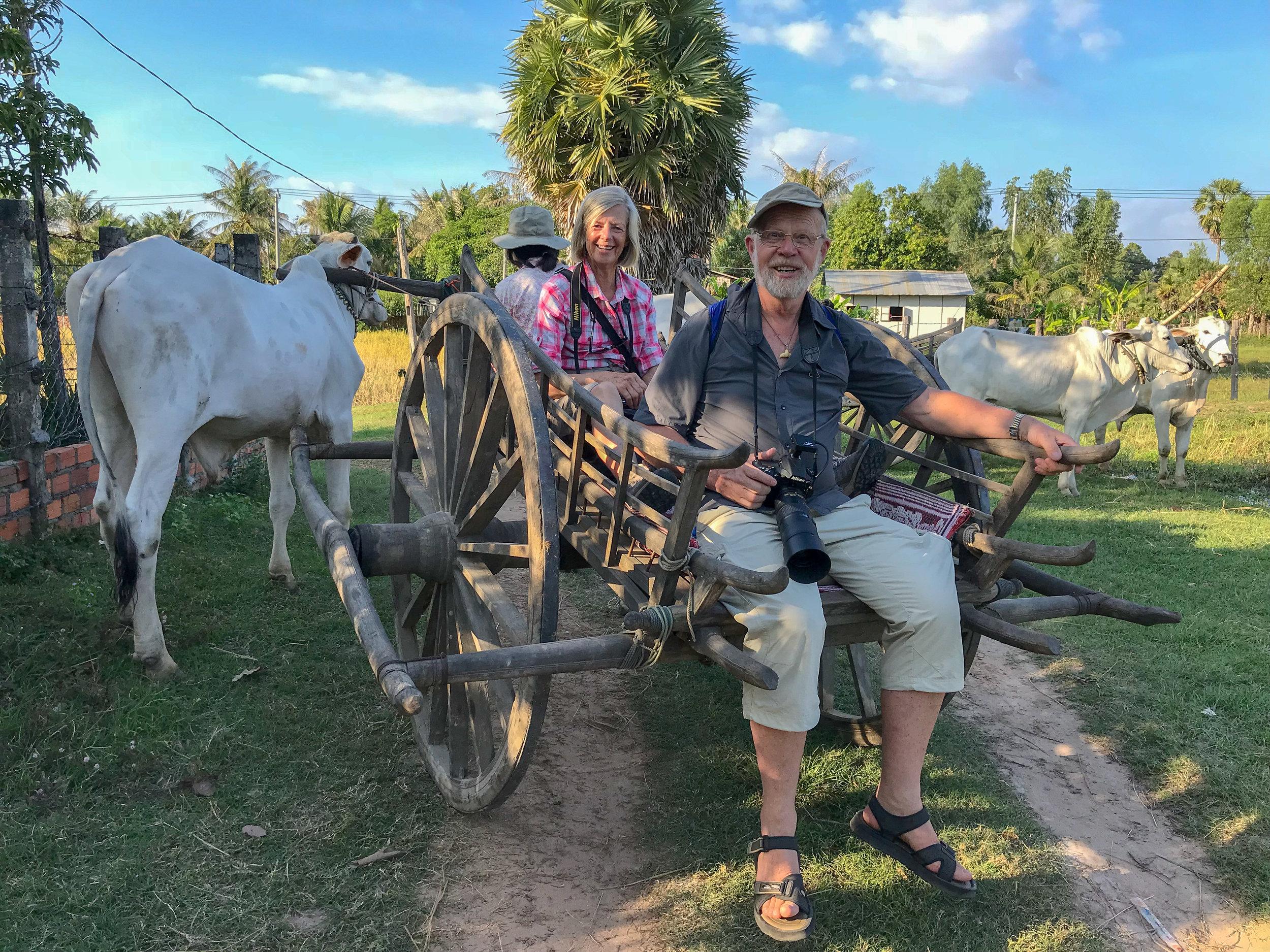 Corinne & Tony, ox cart ride, Siem Reap, Cambodia