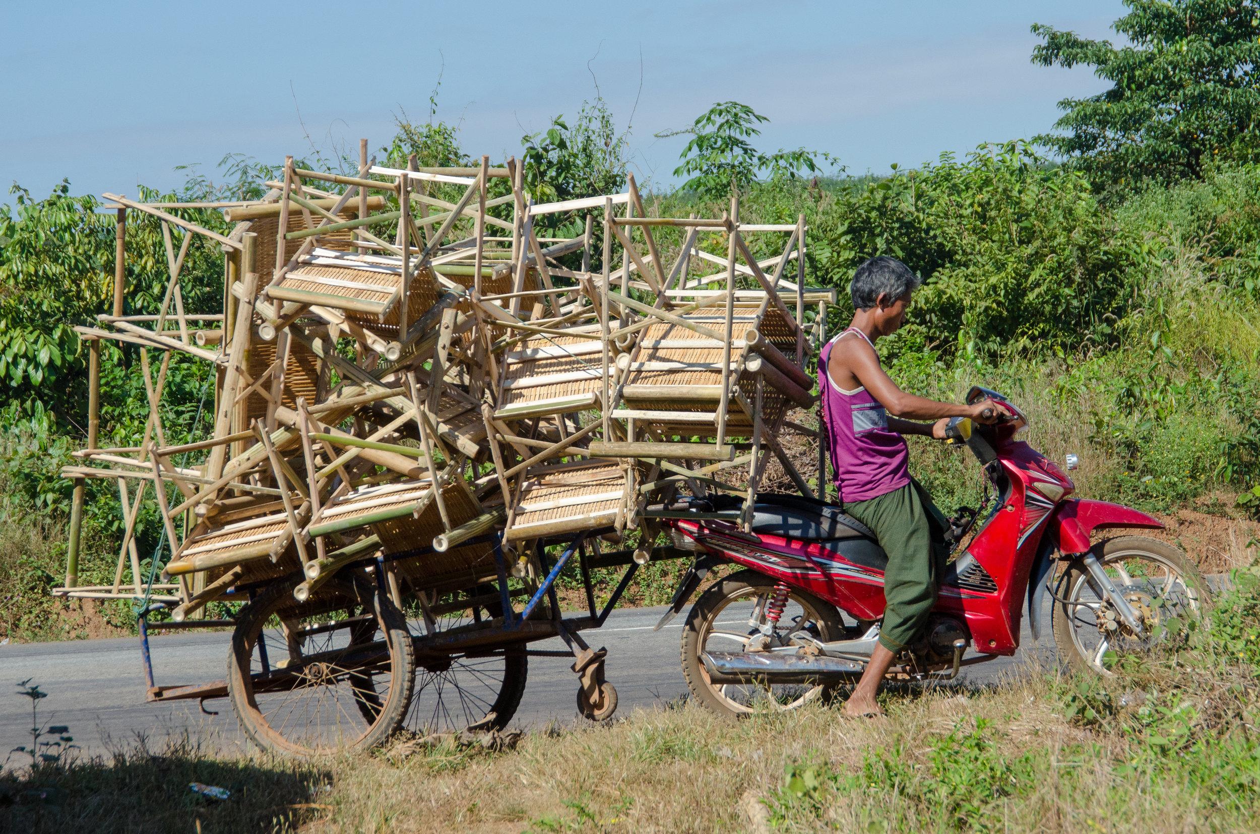 Transporting bamboo furniture, Moke, Kha Mu, Myanmar