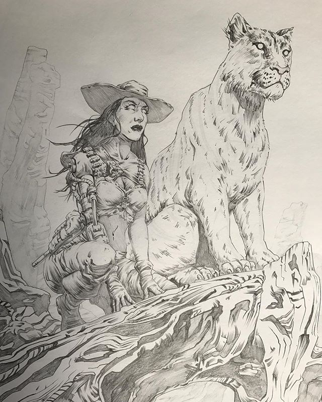 Something I drew a month or two ago on #twitchtv in anticipation of making it into a print for #wildwildwestcon  What do you think, too much detail in the rock ledge thingy? Or maybe not enough! #steampunksnotdead #goodkitty #pencil_drawing