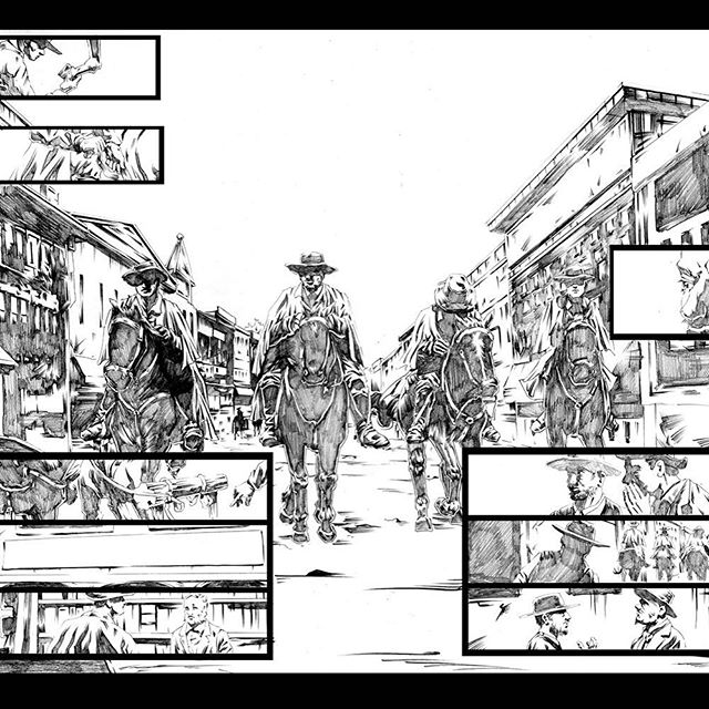Throwback to SATH, scene of the James Younger gang riding into town. #graphicnovel #pencildrawing #wildwest