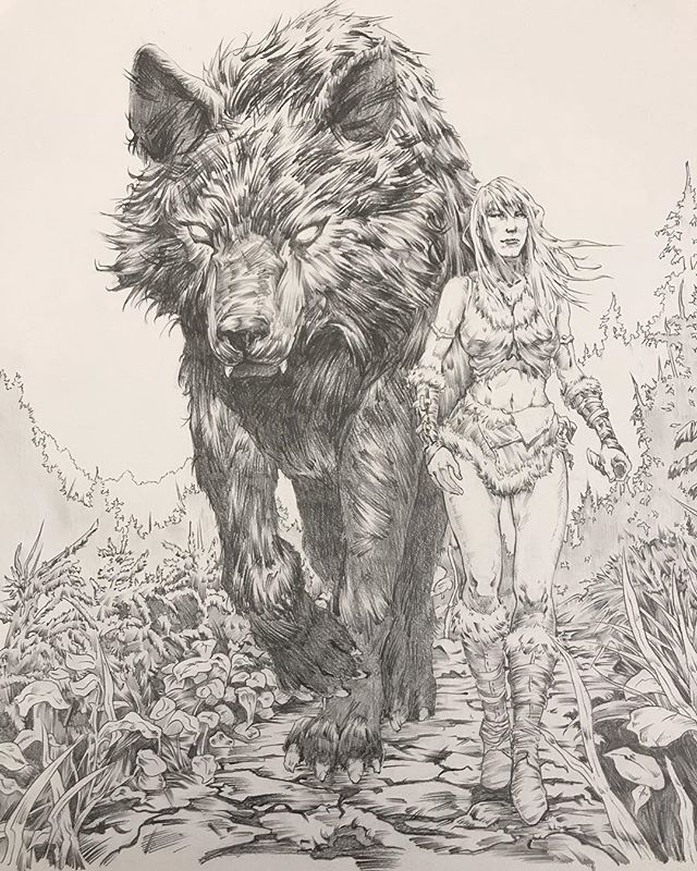 Aaaaaand last piece of 2018 is done! Probably took 15hrs total. 5 hours on the rough sketch, then 10 on the final drawing. 🐶🌲 #pencildrawing #graphiteart #arcticwolf #drawings #fantasyart #pencilart #artwork #draw #blackwolf #artistsoninstagram #artoftheday #mountainpath #warriorwoman #onthehunt #femalefigure