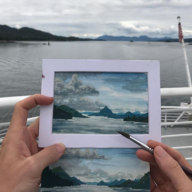 It's bittersweet saying goodbye to Southeast Alaska after being there the past year; the landscape has a way of working itself into your heart.  A memorable send off though, had to take my car on a 3 day ferry along the inside passage, turns out it's a great opportunity to gaze into the distance with lots of deep emotions and also practice some watercolor.  One word: Solarium, for those of you who don't know, (because I certainly didn't) it's a room with lots of windows and these ferries have one on the top deck. Though it's not so much a room as it is an open area with 3 glass walls, skylights and heat lamps. Seriously, it's perfect for painting outside, the wind is blocked and your hands don't get cold.  If you have camping gear you can also sleep up there under the stars. 10/10 would recommend (though it wasn't crowded when I went, I've heard it can be.) #alaska #southeastalaska #insidepassagealaska #pleinair #watercolorpainting #partingissuchsweetsorrow