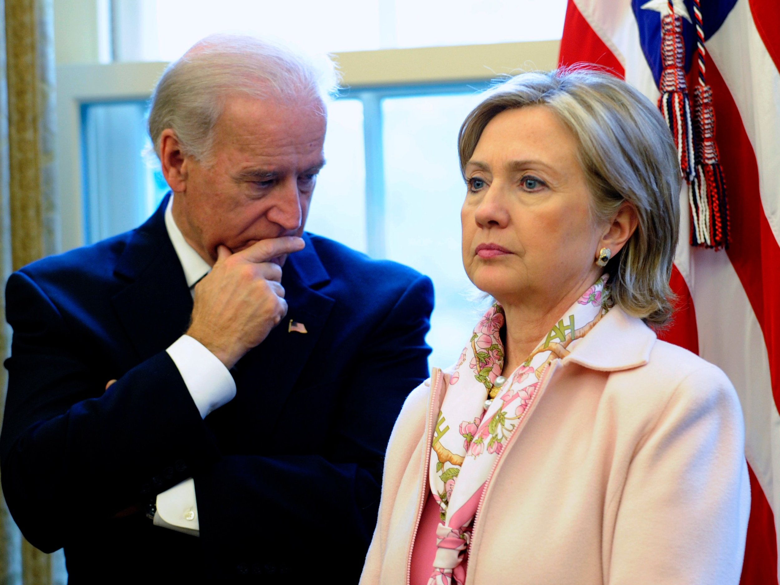 Biden:  Do you ever miss those talks we had on the elevators?  Hillary:  No.  Biden:  Come on. Remember how we'd always ask you about life on the flotilla?  Hillary:  This conversation is over.  Biden:  Tell me again about your immune system.  Hillary:  I have a shotgun.  Biden:  Mmmmmaybe we'll talk later.