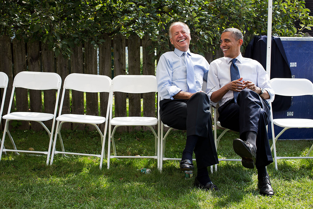 Obama:  How about a dip in the pool?  Biden:  You obviously haven't seen turians swim. It's a lot of flailing and splashing interrupted by occasional bouts of drowning.