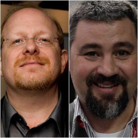 Mark Waid (left), Jonathan Hickman