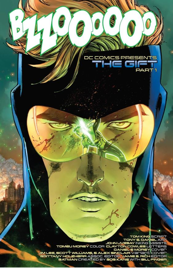 That's Hal Jordan committing suicide in the reflection of Booster's visor.