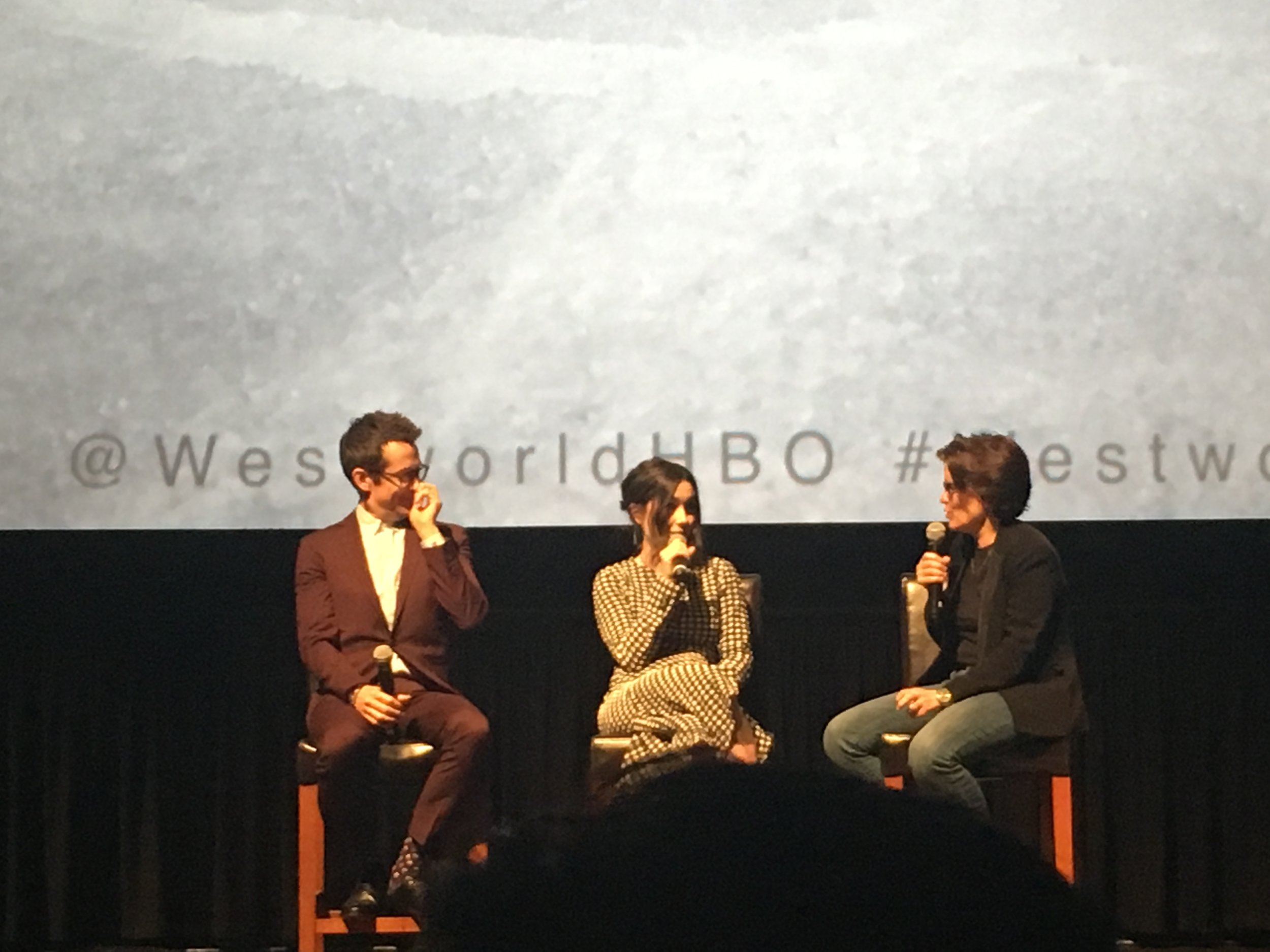 Simon Quarterman (Lee Sizemore) and Shannon Woodward (Elsie Hughes) discuss ethics in Robotics and tech at the Westworld Season 2 Premiere at the AMC Kabuki 8 Theater in San Francisco. The panel was moderated by Kara Swisher from Recode