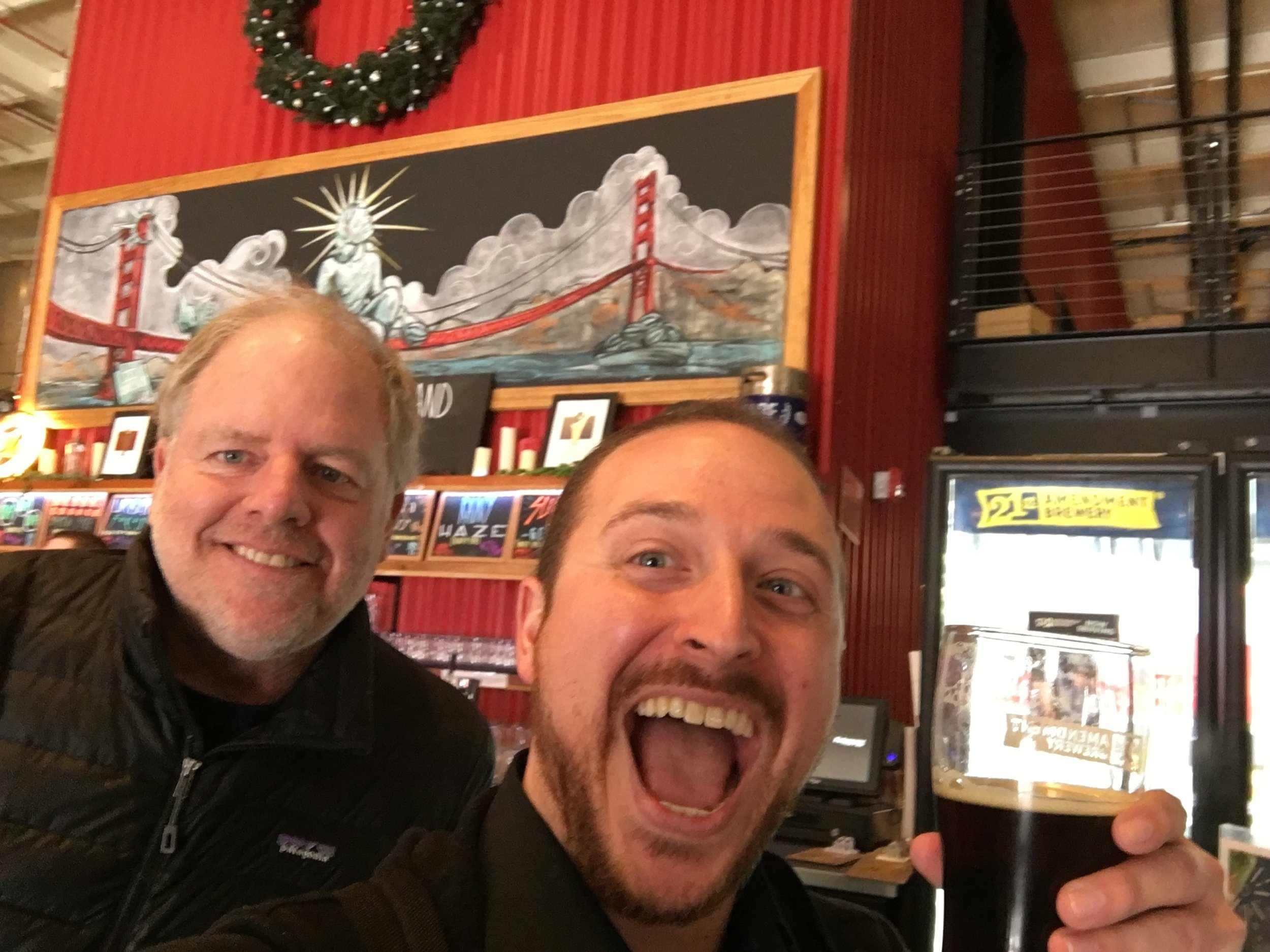 21st Amendment Brewing's co-founder and brewmaster Shaun O'Sullivan and West Coast Avenger Gregg (pictured: the delicious Fireside Chat Winter Spiced Ale)