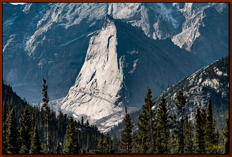 """Sharktooth Mountain"" ©2016 Jon S. Berndt    I found this enormous rock to be an impressive sight, and it was well-framed by the foreground hills and forest. Colorful trees were not the only subjects of our cameras! To see a larger version and for purchase options,  click here ."