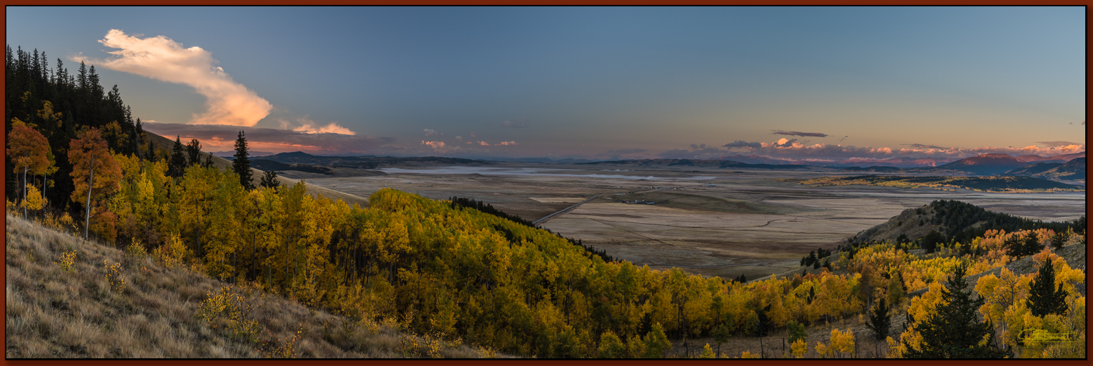 """Autumn Morning Above South Park"" ©2016 Jon S. Berndt   Our vantage point provided a breathtaking view of nearby golden aspens with South Park as a backdrop. We arrived before sunrise and enjoyed this wonderful view as the Sun rose."