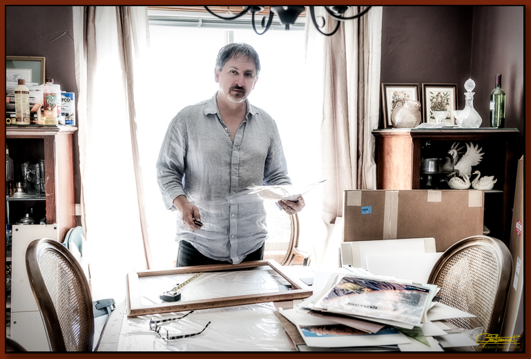 Self Portrait: preparing prints for framing