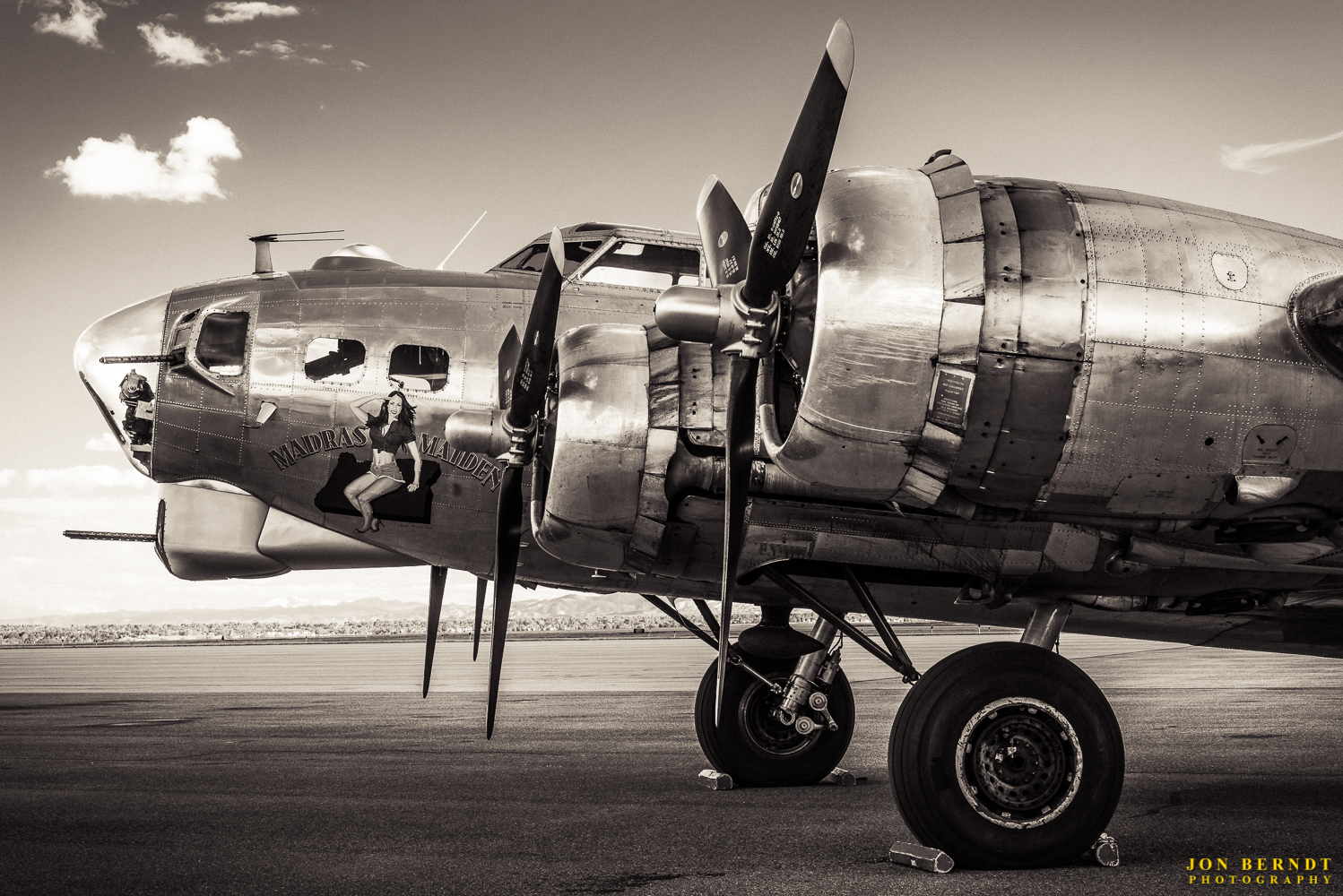 """B-17G """"Madras Maiden"""". The nose art was painted by aviation artist  Gary Velasco . For this image I wanted a 1940's look, it's a little lower in contrast and has a slight sepia tone to it."""