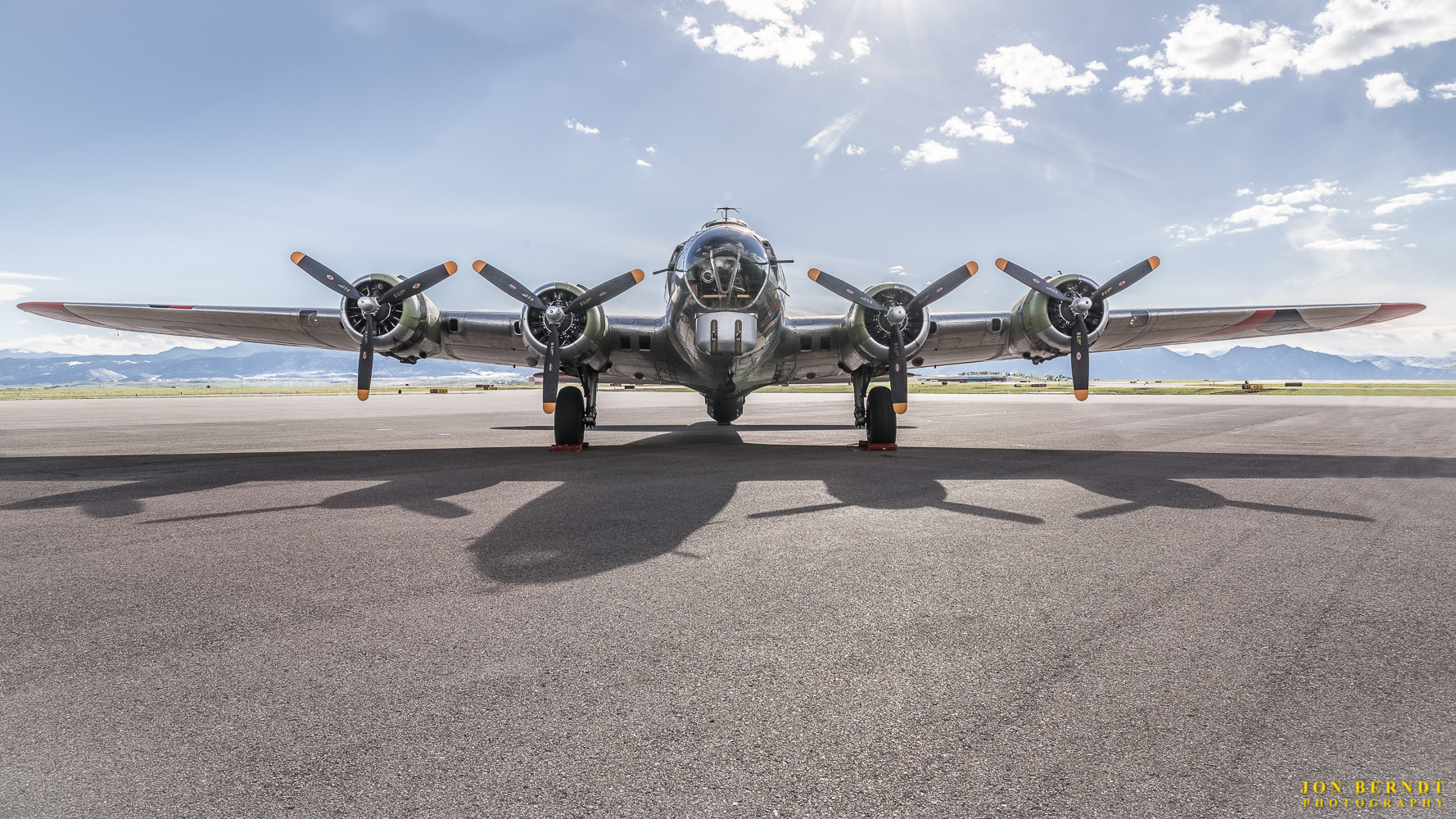 """B-17G """"Madras Maiden"""", head on. The lighting and shadows worked well for this shot on the runway."""
