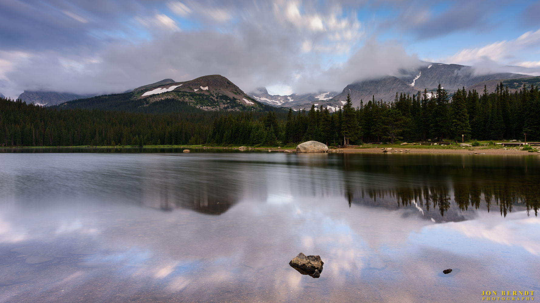 Morning at Brainard Lake. Mount Audubon is shrouded by clouds at its peak.(C) 2017 Jon Berndt Photography