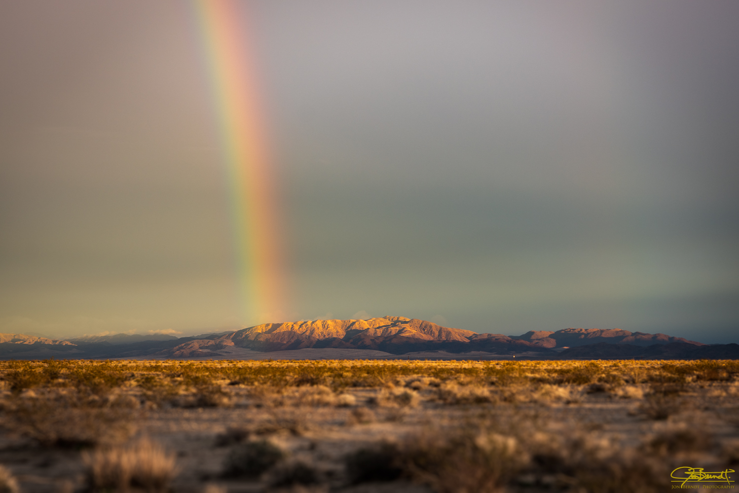 Early this year I traveled to visit family in Wonder Valley near Twentynine Palms, California. I happened to fly in during a huge rainstorm and over the next few days there was a lot of rain in southern California. One result was this rainbow over the Valley.   Click here  for information on ordering a print of this photograph.