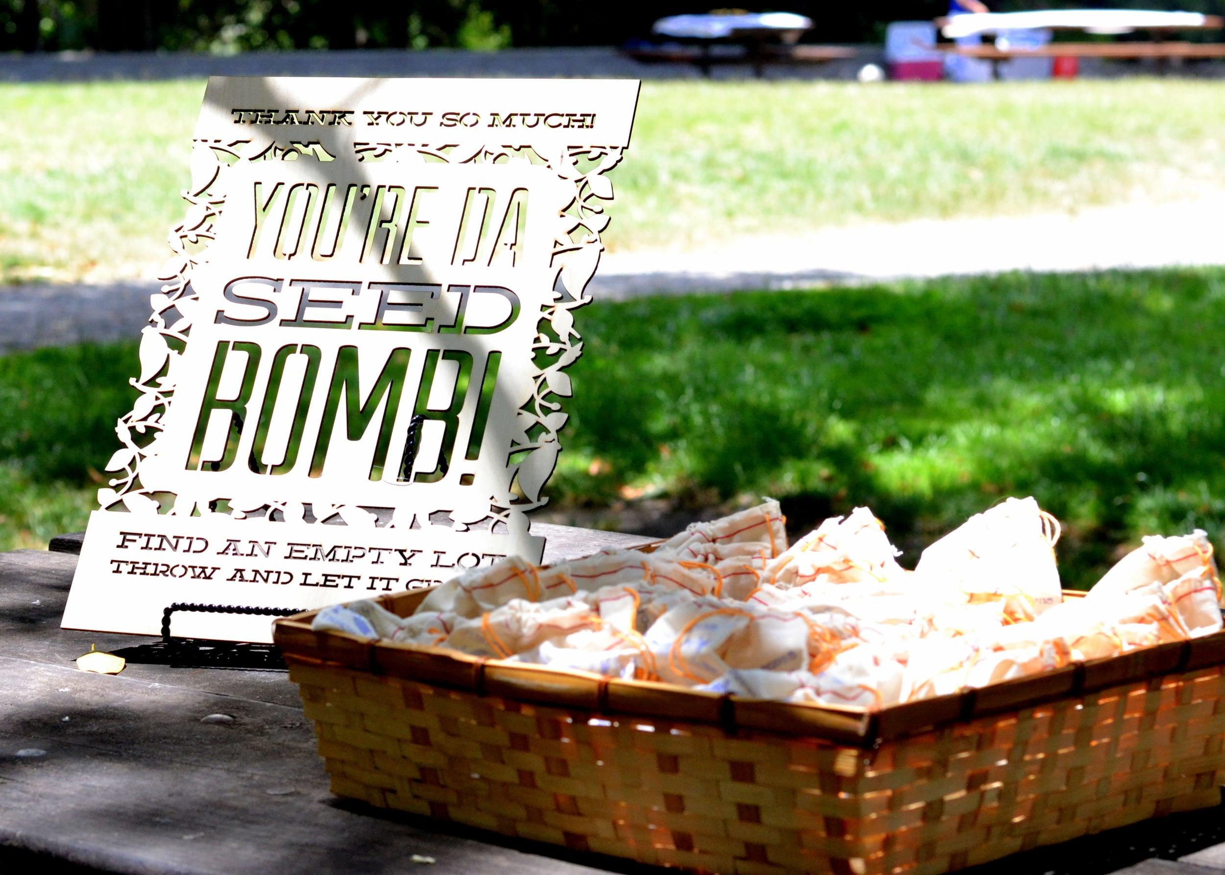 Seed bomb wedding favor display