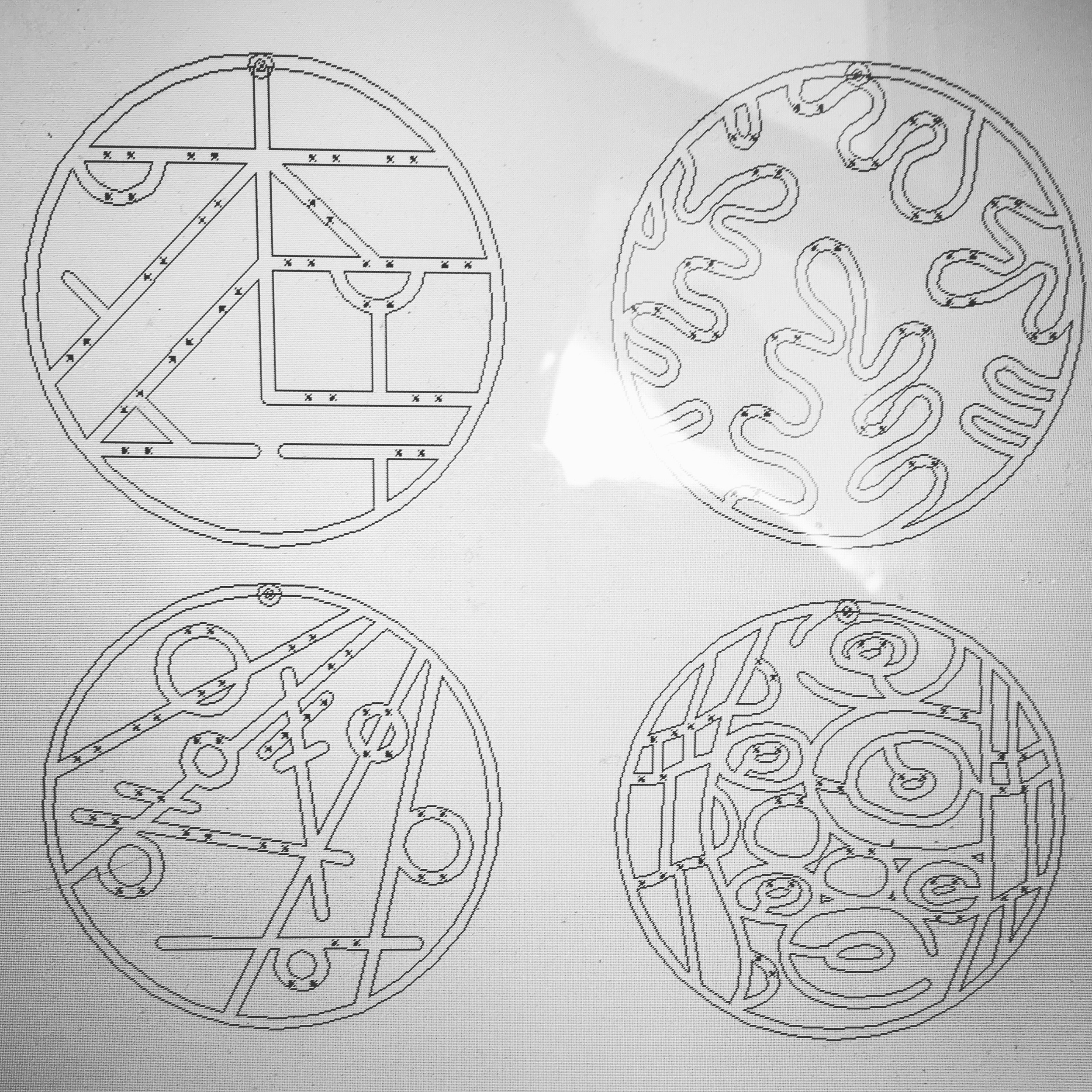 Vector designs outlined and ready to cut.