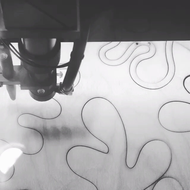 Laser cutting the Matisse piece.
