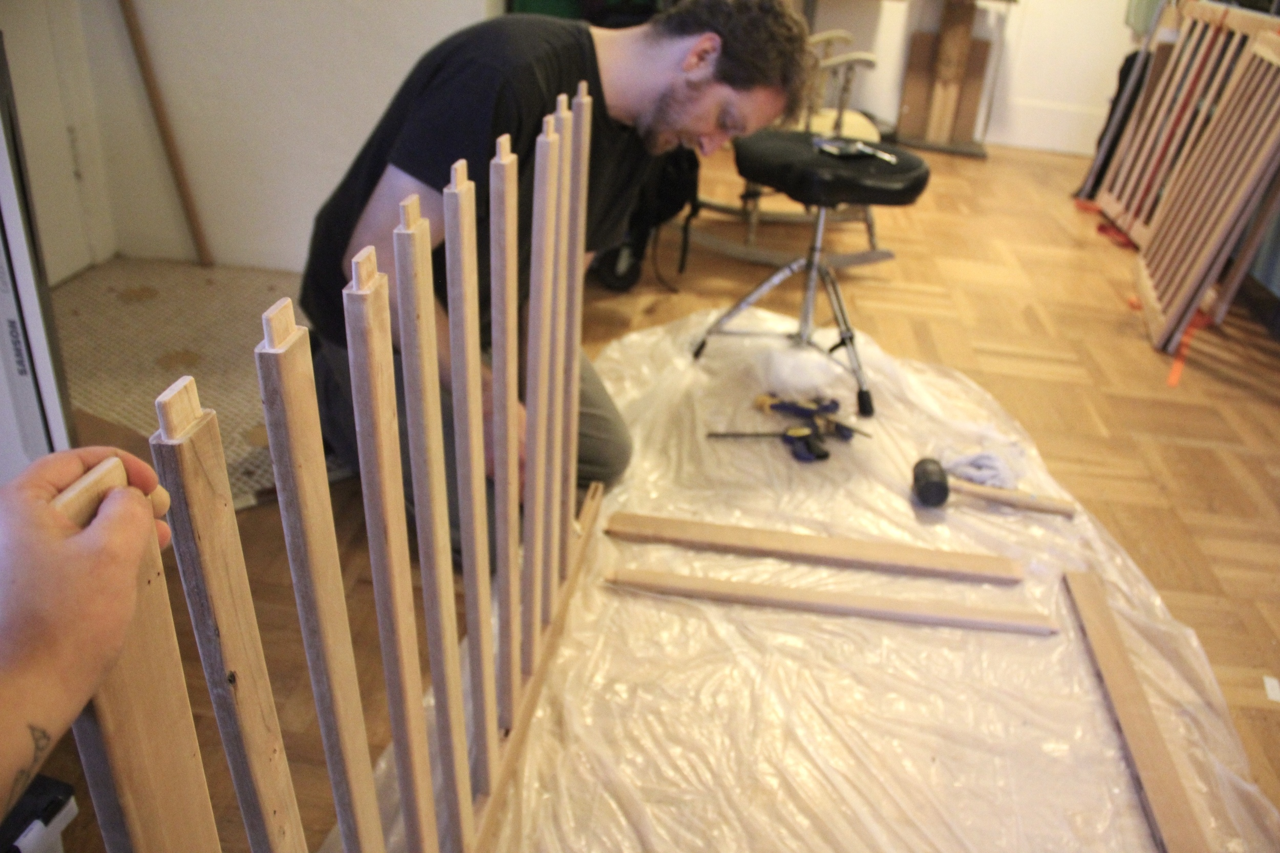 Gluing up the crib