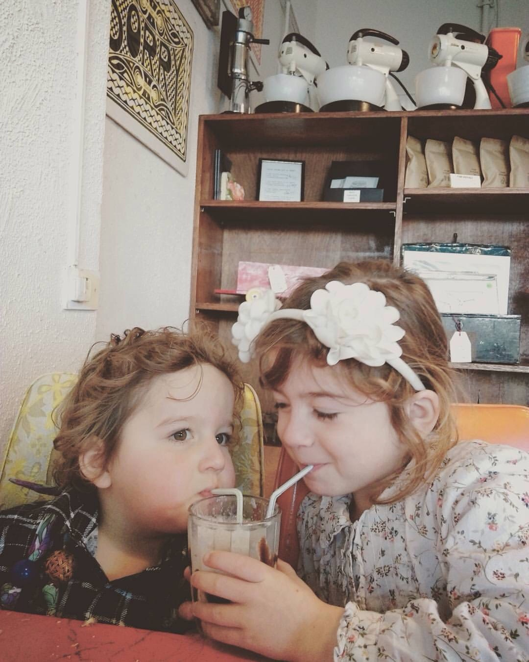 Sharing a shake at Happy Maree.