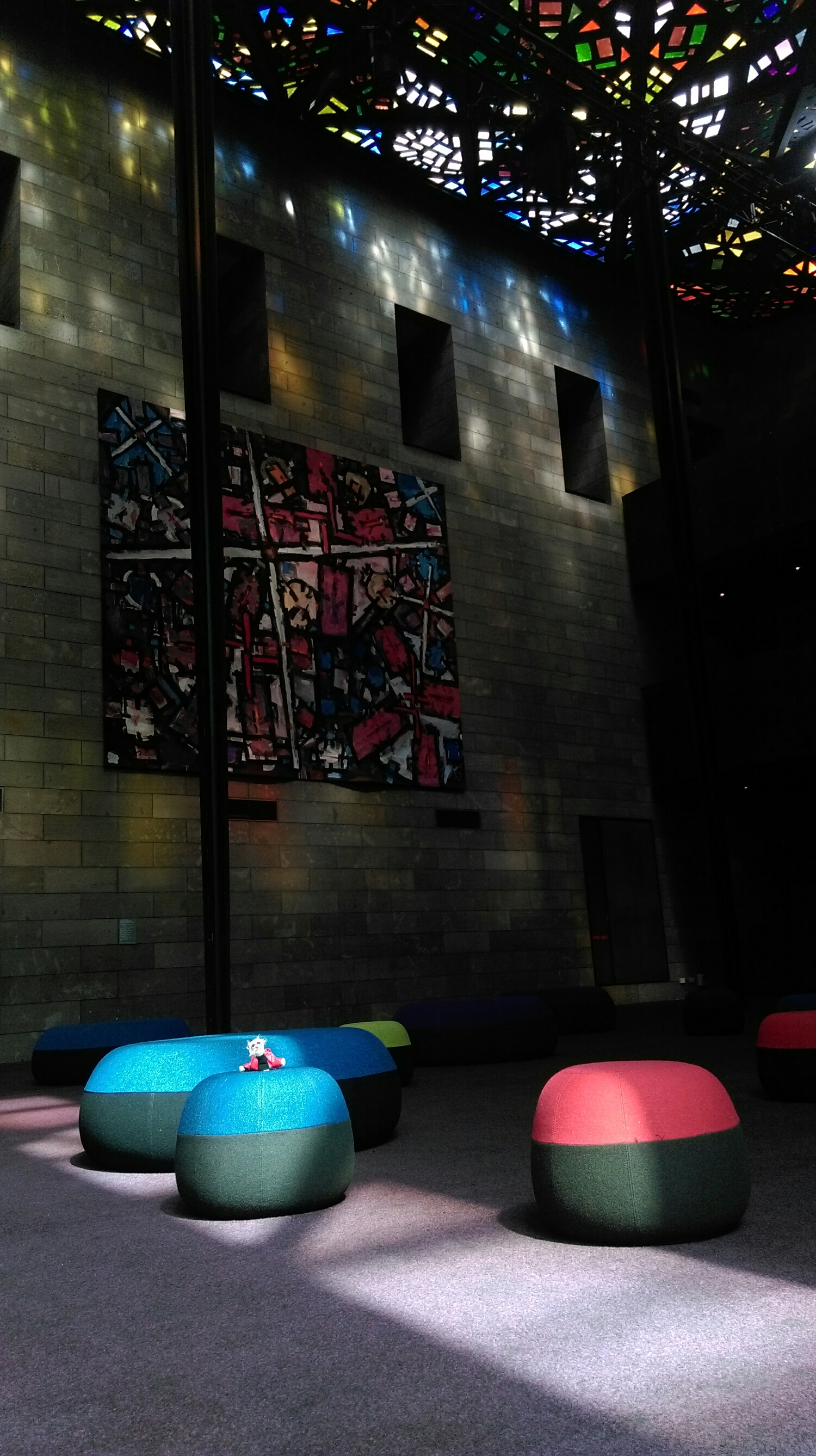 Into the Great Hall now, these cushions are built for play or just lying on to admire the spectacular roof!