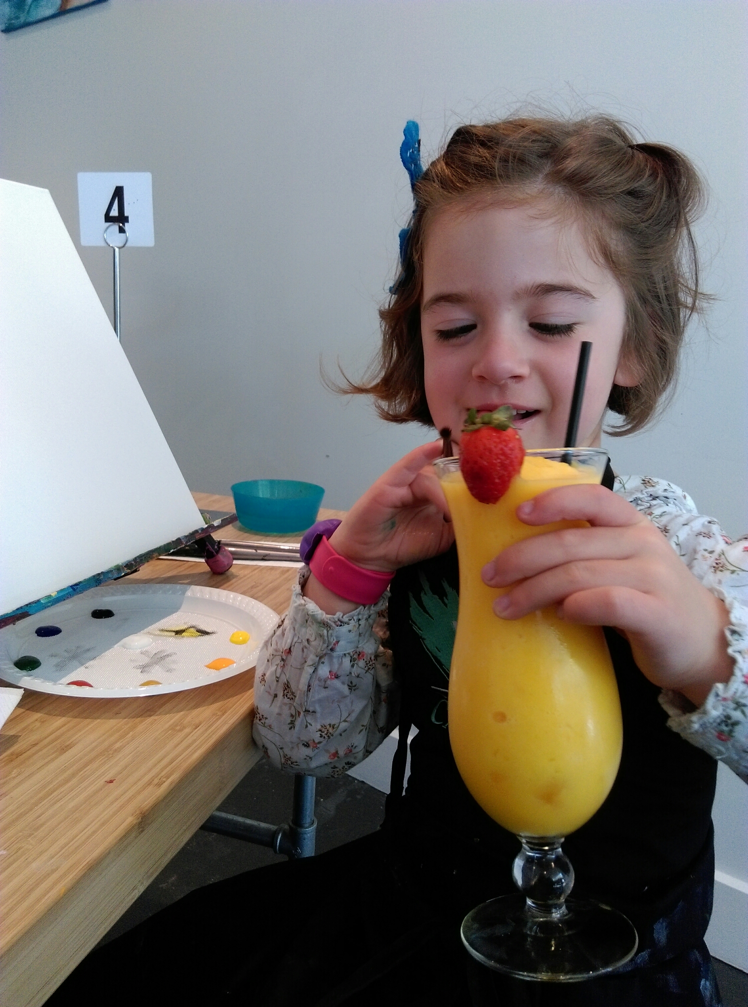 Mango Mocktail (that she traded for a hot chocolate) :)