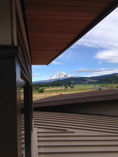 Crisp new standing seam metal roof with Mt. Adams beyond.
