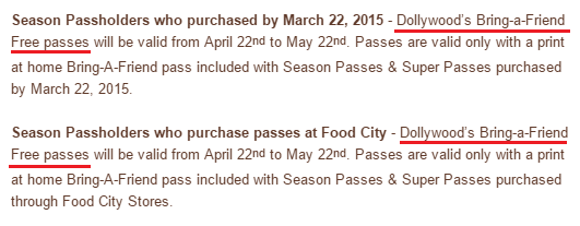 2015  Season Passholder Benefits