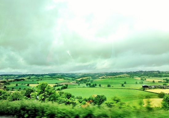 Riding past the beautiful English countryside.