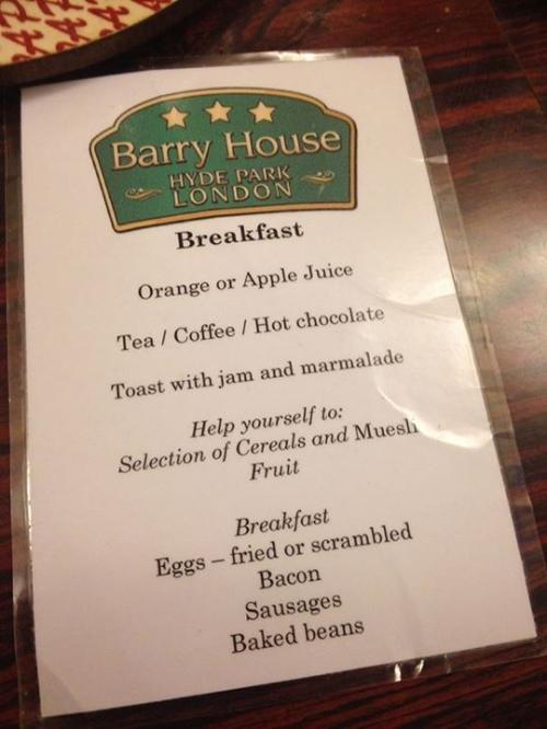 Barry House B&B Menu