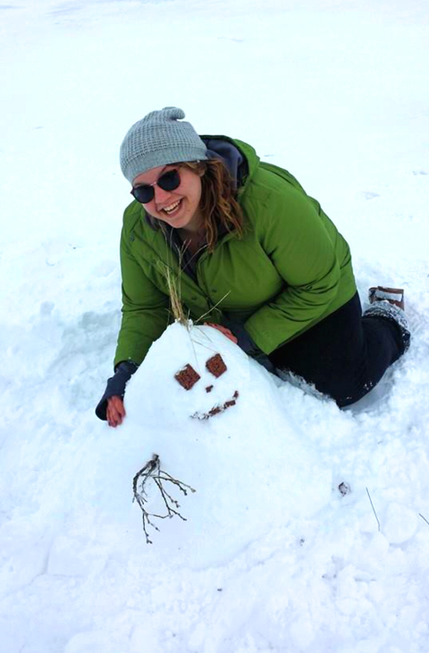 Building a snowman in Iceland.