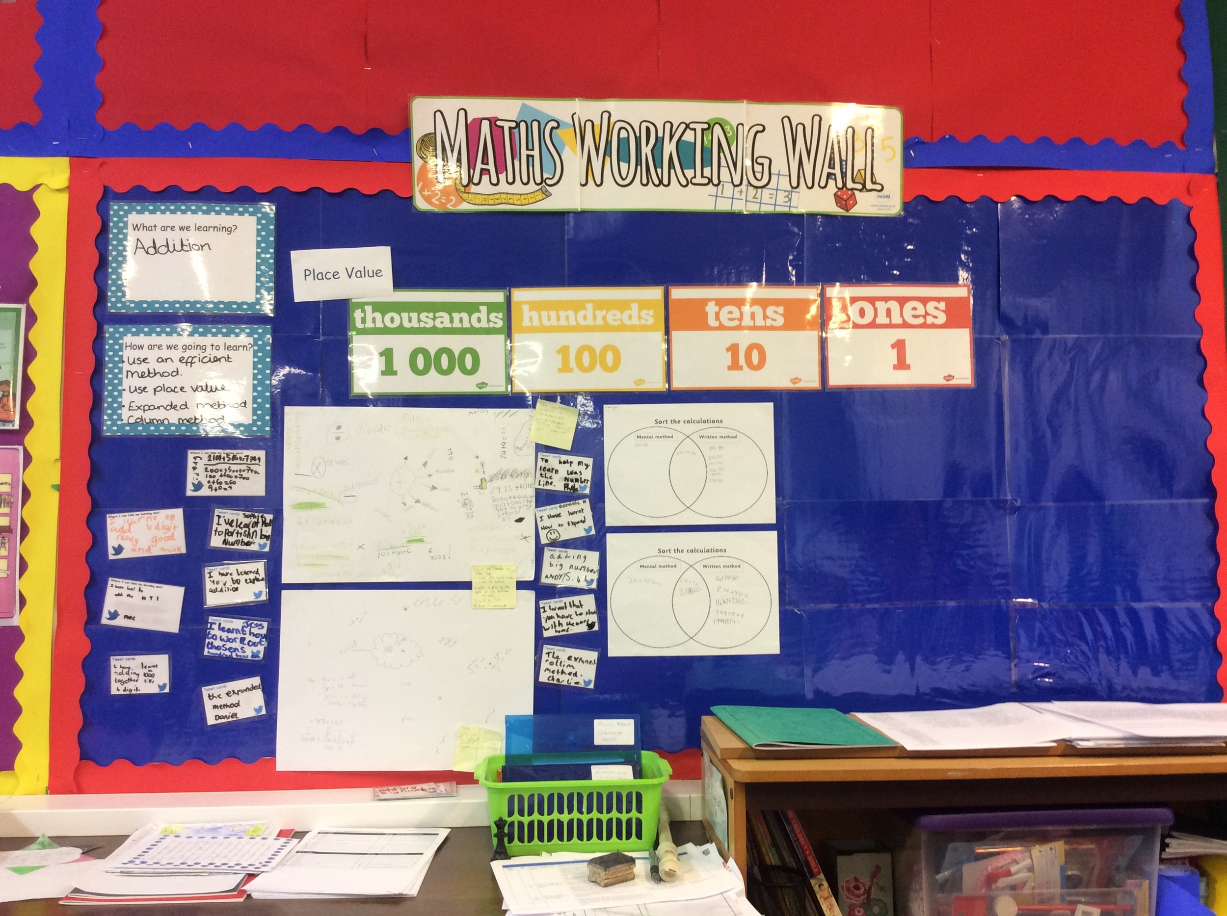 The working wall helps if we get stuck in maths