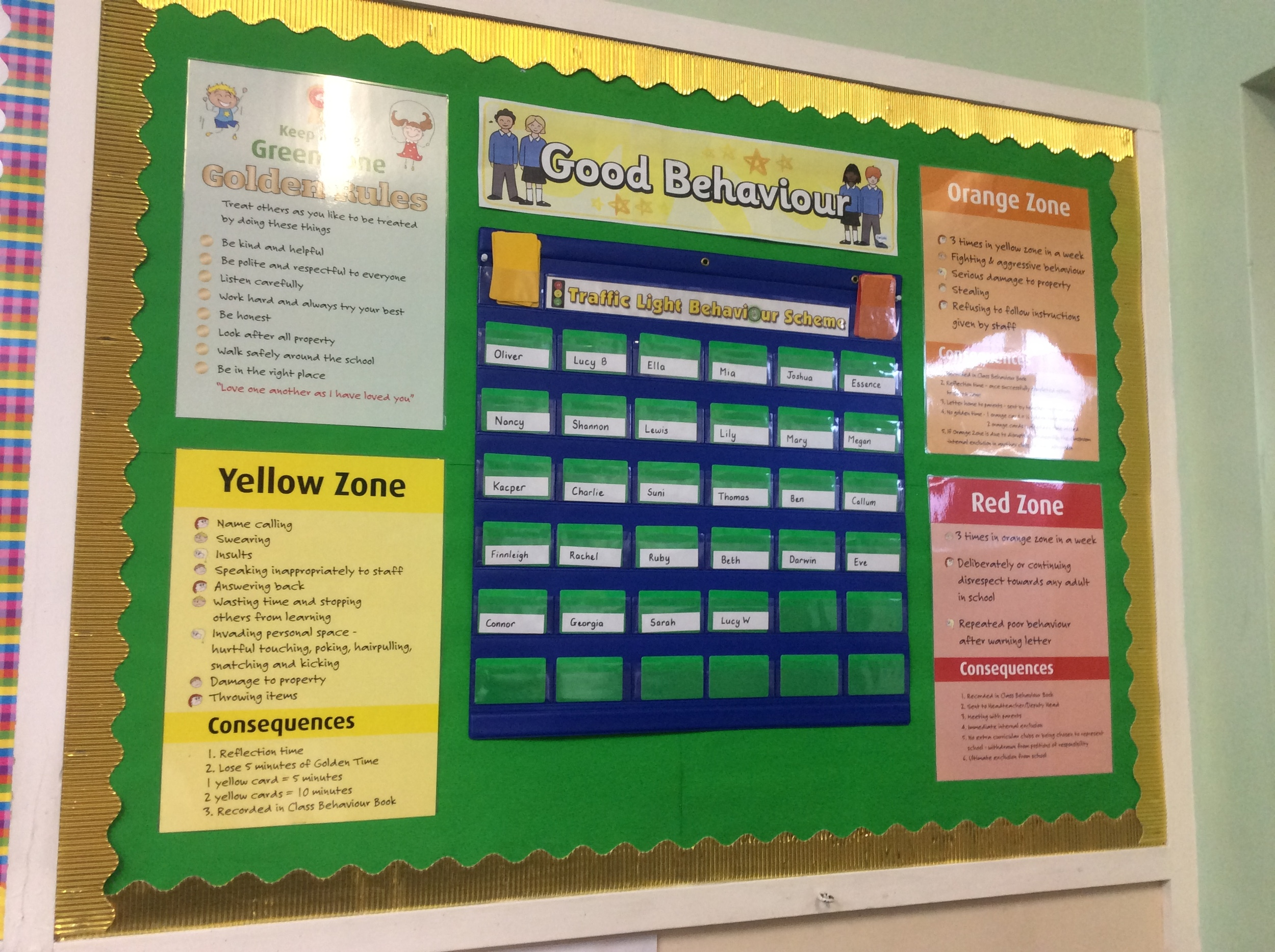 This is our behaviour system. Stay in Green for Golden Time
