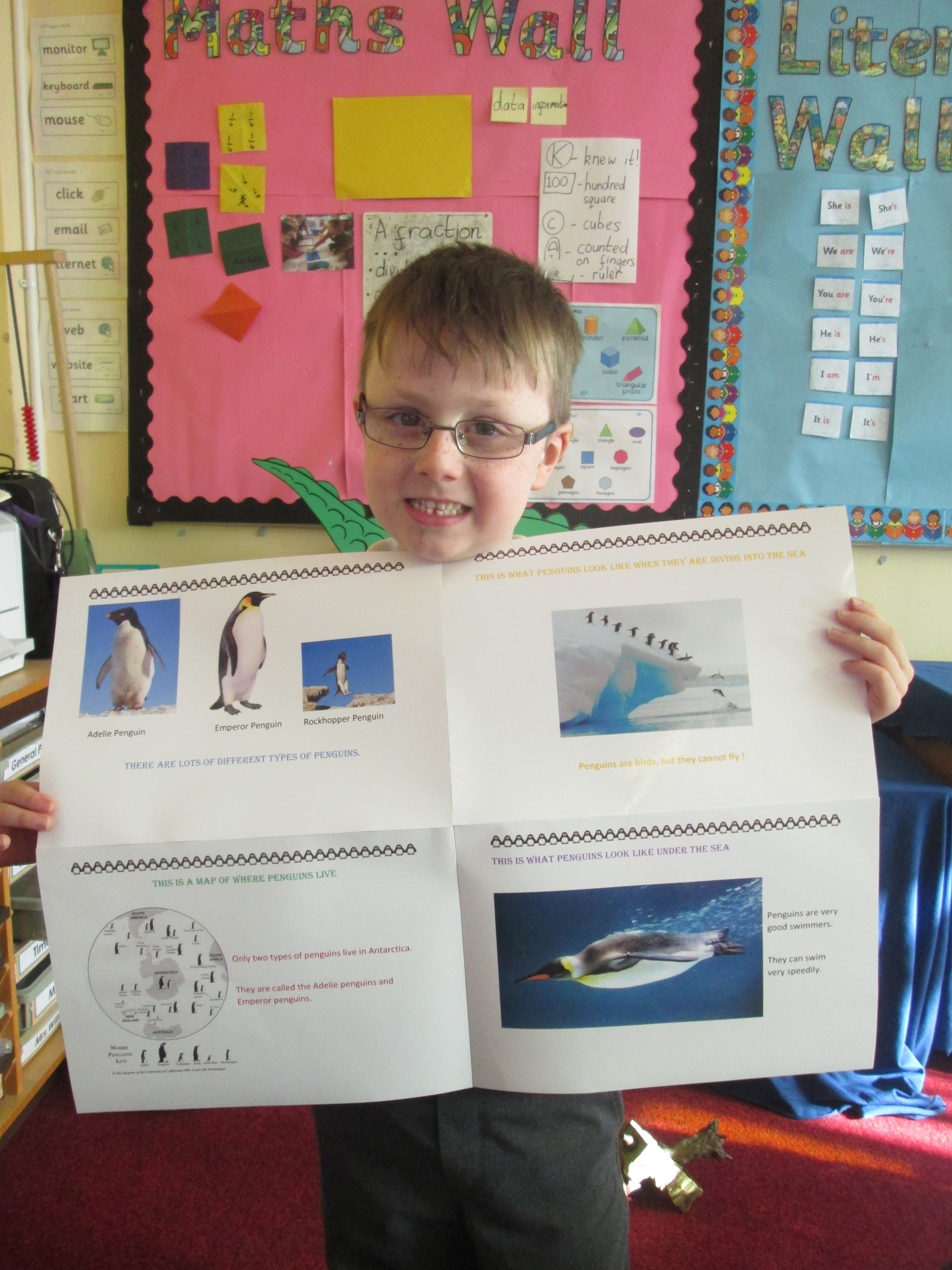 Gabriel worked very hard to produce this very impressive information poster all about penguins.