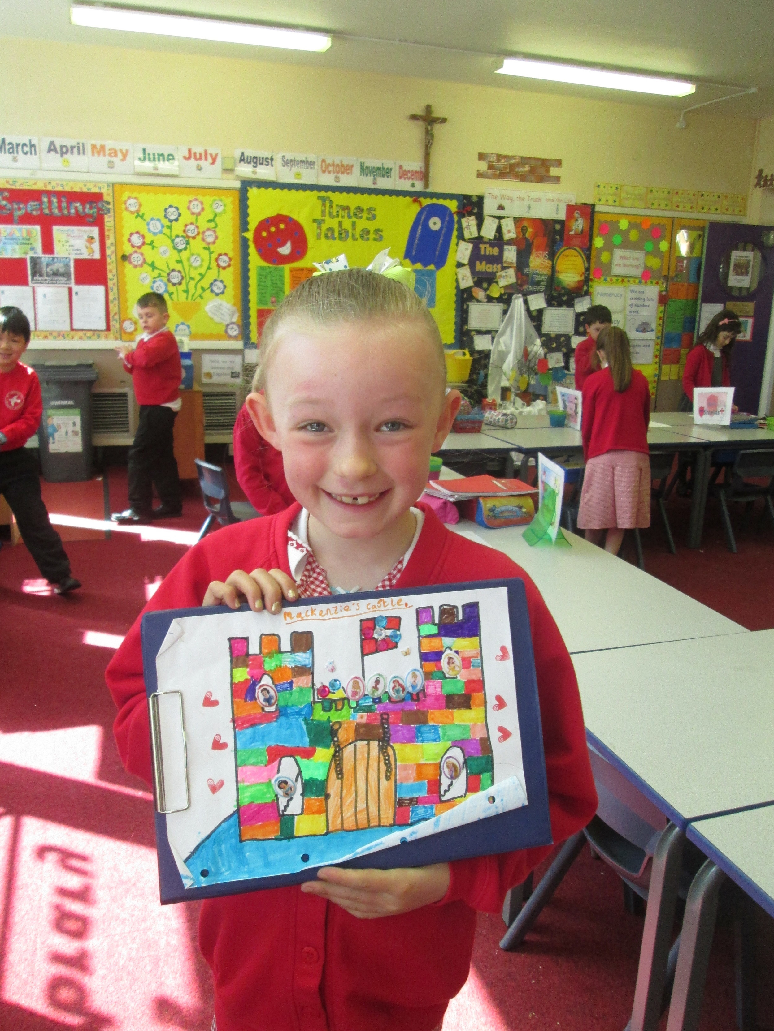 Mackenzie produced this colourful castle picture which will brighten up our display.