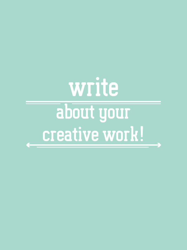 Write about your creative work! Back in art school I had a habit. Every night I took out a little journal and wrote down the thoughts I had about my art. If you want to know why this little habbit is esential to your creative practice, read the full blog post at www.kerstinpressler.com/blog/write-about-your-creative-work