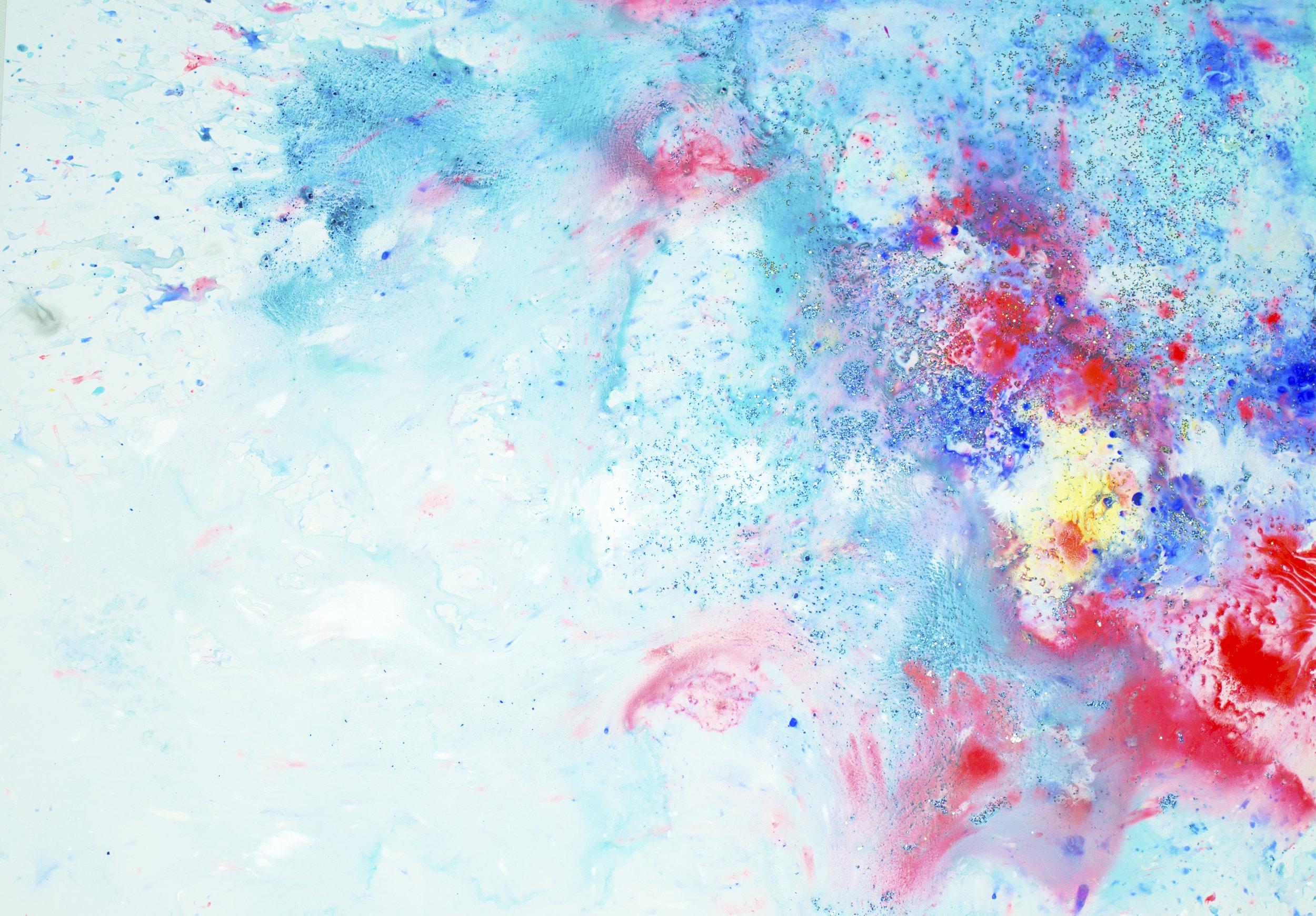 'Blush skies, NO. 6', 42 x 59,5 cm, acrylic paint on Steinpaperbase, Kerstin Pressler, www.kerstinpressler.com