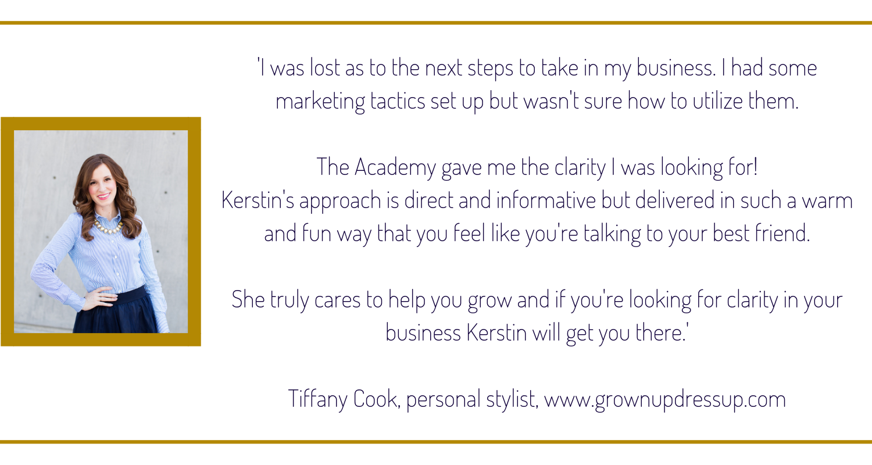Tiffany Testimonial, the sparkling creative Academy, www.kerstinpressler.com/academy