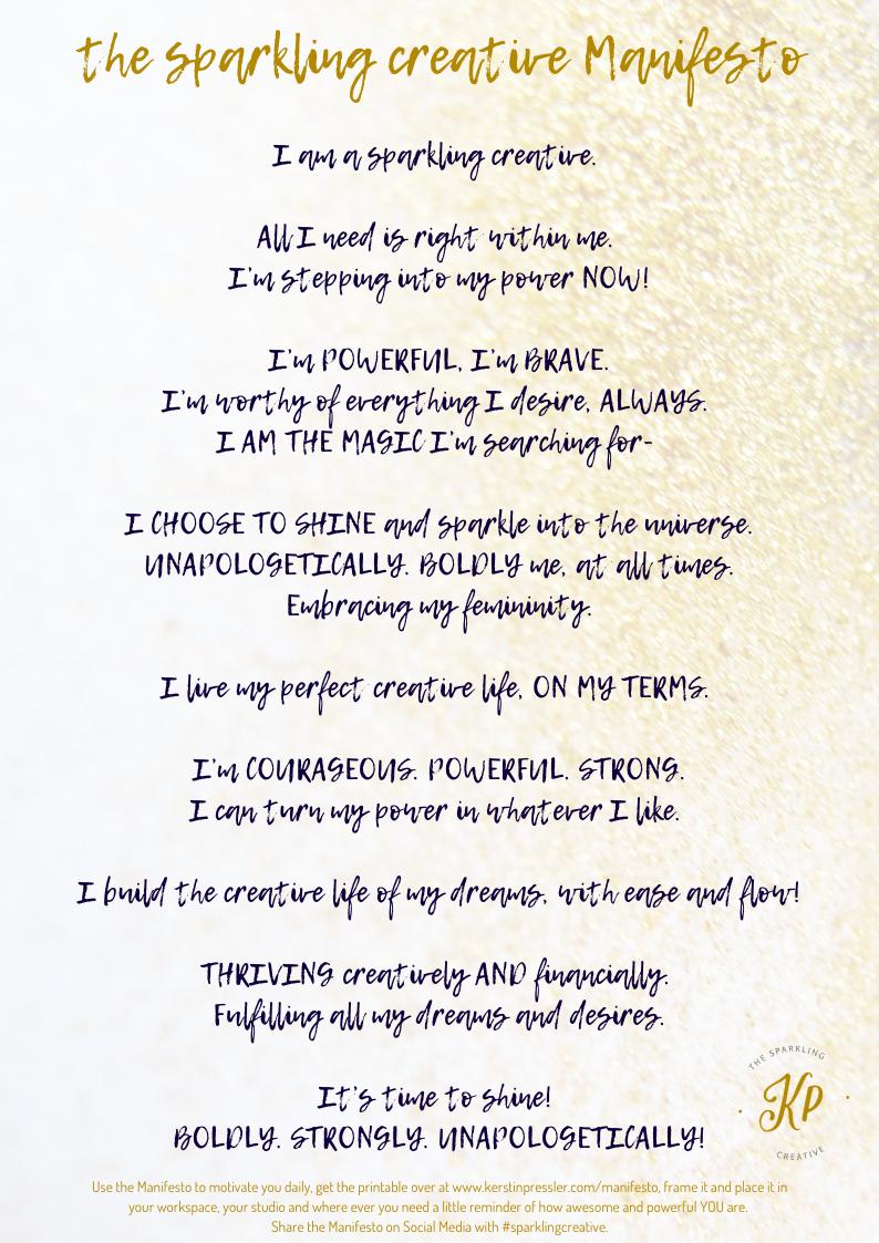 the sparkling creative manifesto. www.kerstinpressler.com/manifesto