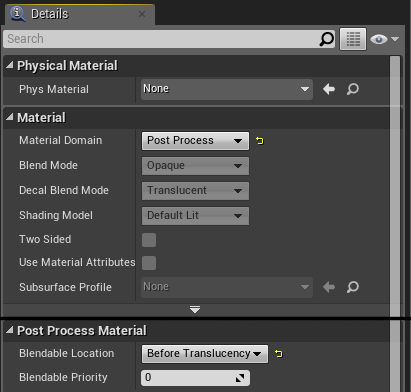 New Material Details Panel