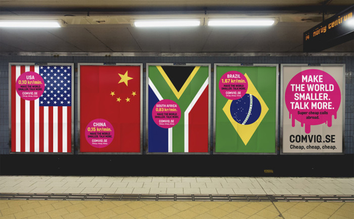 'Make the World Smaller' outdoor campaign encouraging nations to talk more. Credit: Forsman & Bodenfors.