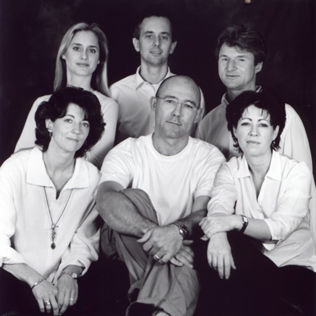 eatbigfish in 2000. Pam Scott - back, left. Adam Morgan - back, centre. Peter Field - back, right. Ruth Morgan - front, left. Rob Poynton - front, centre. Teresa Murphy - front, right.