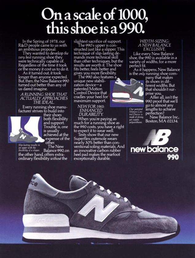 The 990 campaign from 1982. Image courtesy of New Balance.