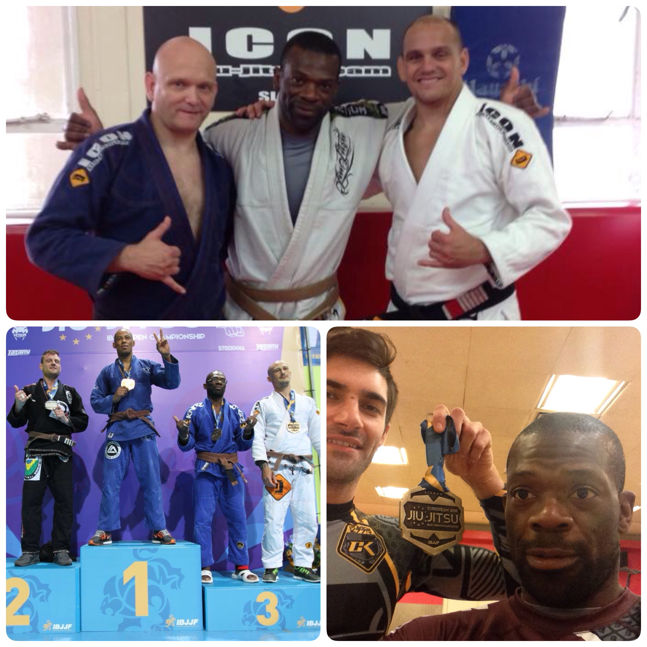 Coach Steve, Maestro ZeMarcello and Luke and Bronze at BJJ European Championship 3 months after becoming Brown Belt.