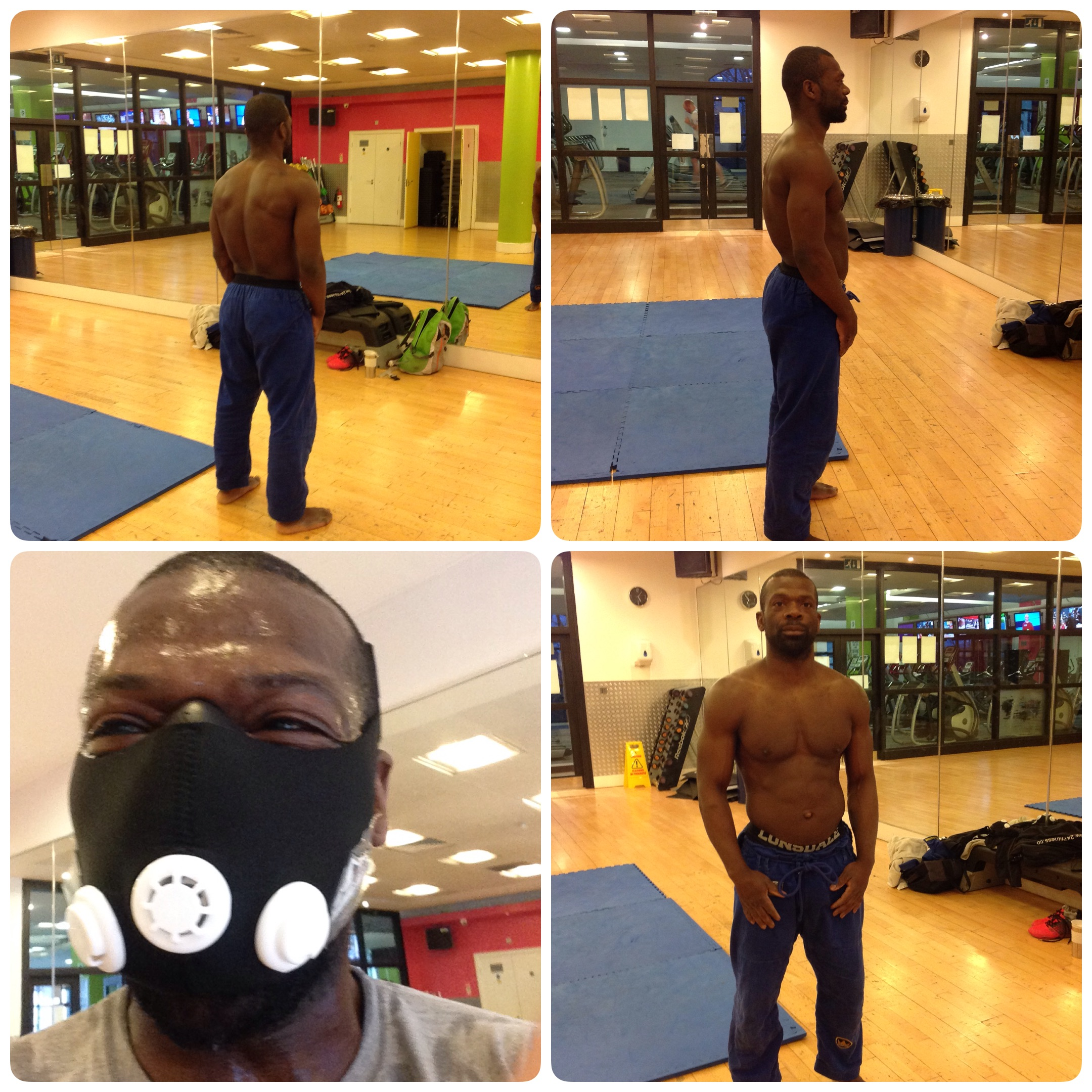 Here I am showing my 2 packs, in normal circumstances I have 4-6. This is what happened when you abuse your mother food. There I am with the altitude mask, I laugh as I start to get used to it and Luke my training partner is knackered...