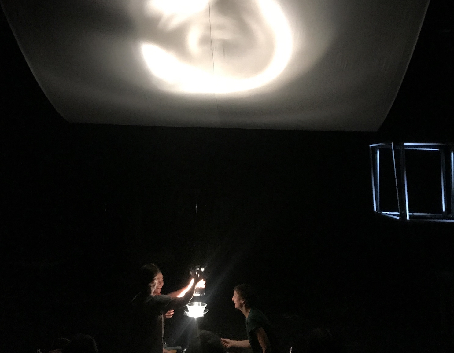 "Photo from "" Some Significance "" - a performance by Eva Meyer-Keller, figuren.theater.festival 2019. A second part of a trilogy, where Eva and other collaborators turn the theatre stage into a physics lab, but a very special one, where experiments, poetry, wonder and fun all find place."