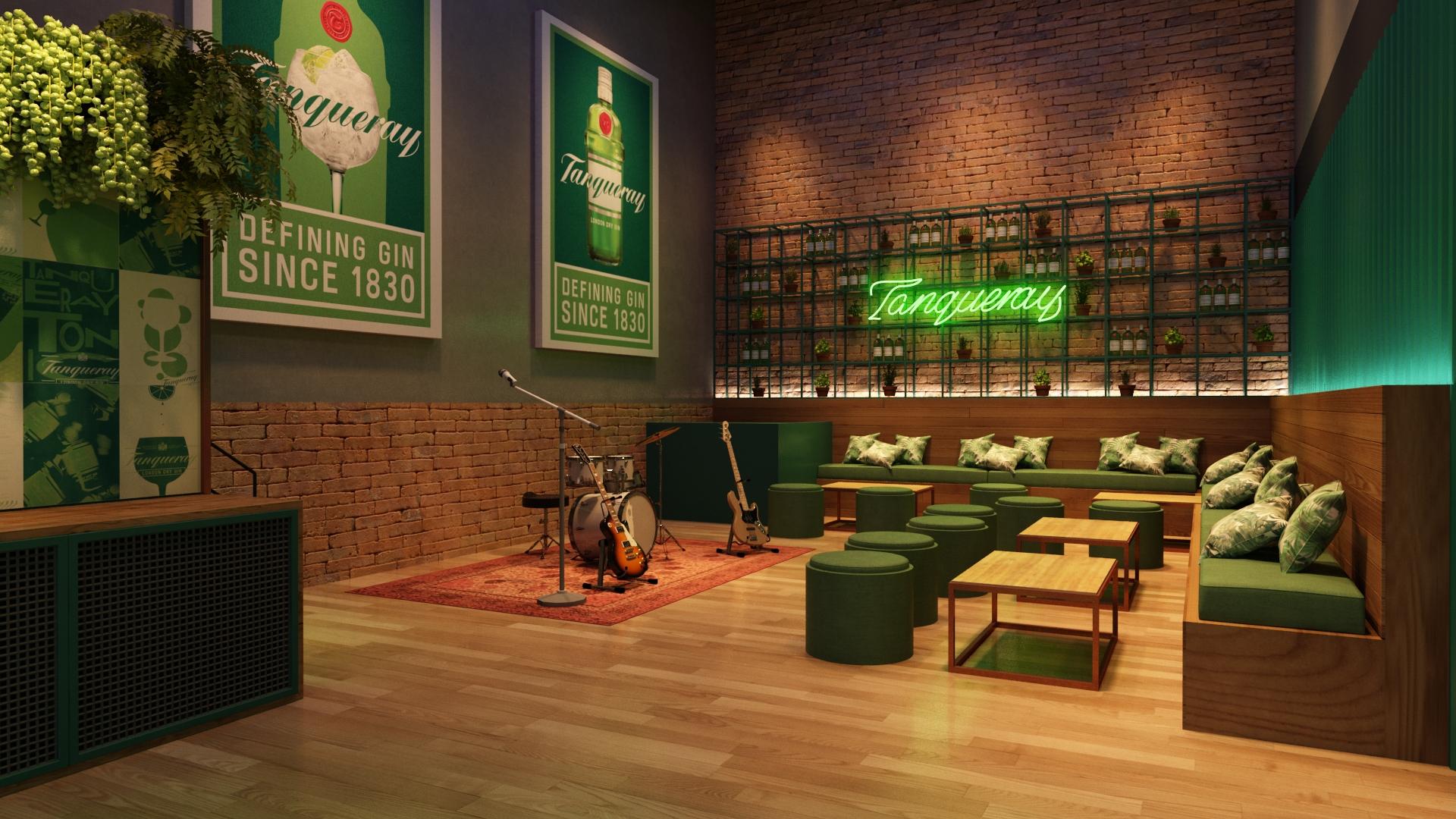 Com criatividade, a decoração personalizada cria o ambiente perfeito para momentos de integração e relacionamento para sua empresa. Na foto, Tanqueary Mixed Gin Bar, um pop up bar para promoção da marca.
