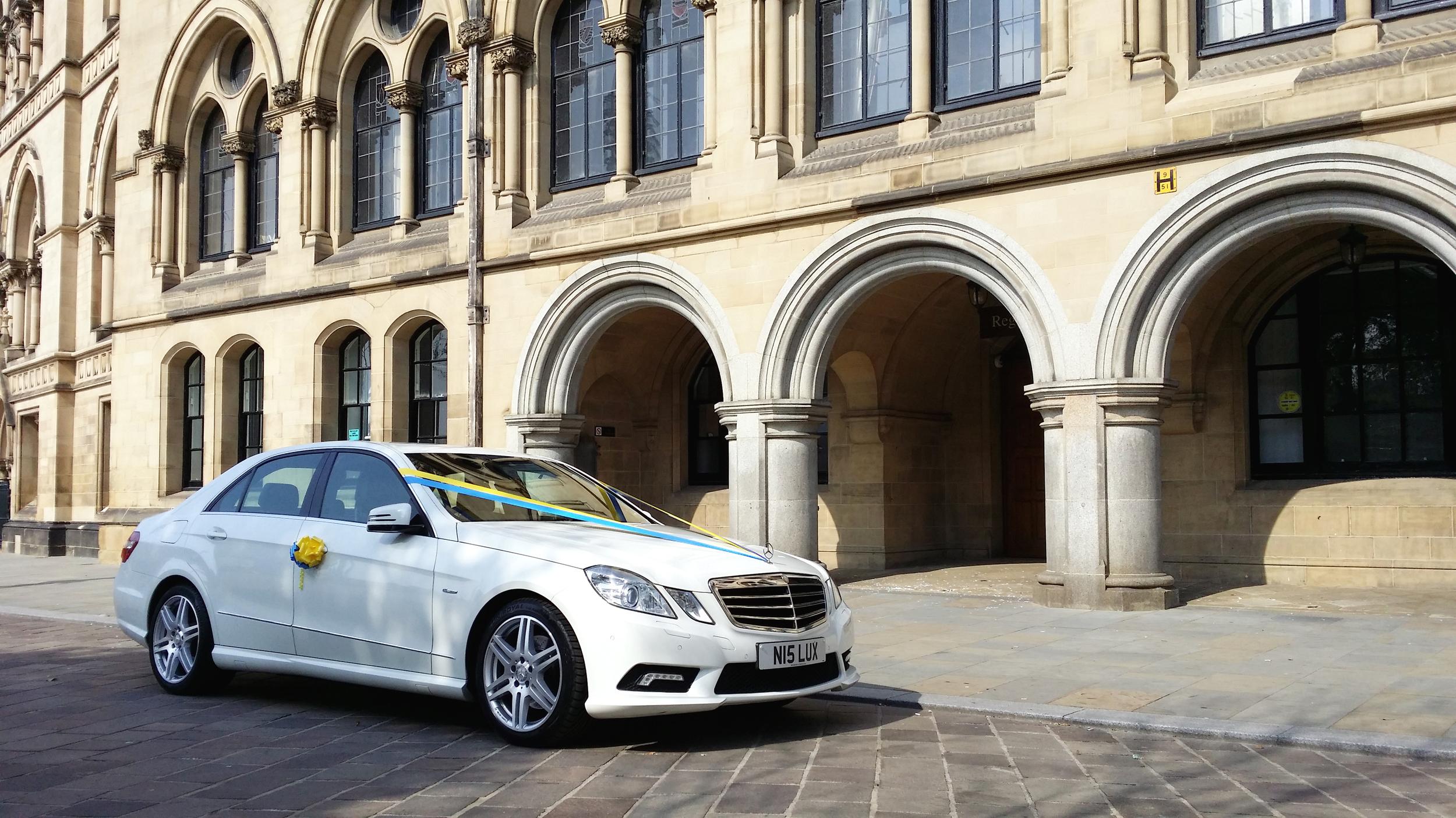 Wedding car for Bradford City Hall ceremony